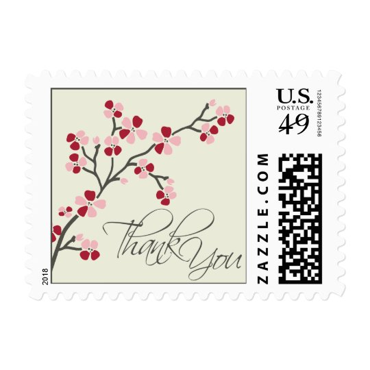 Cherry Blossom Thank You Wedding Stamp 2 :: red
