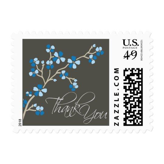 Cherry Blossom Thank You Wedding Stamp :: blue
