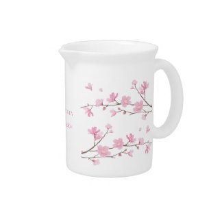 Cherry Blossom - Transparent-Background Beverage Pitcher