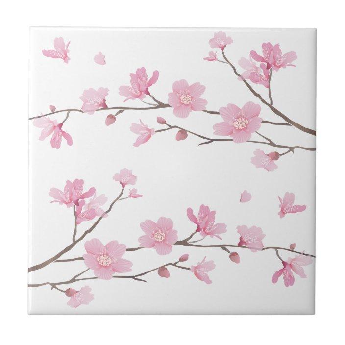 Cherry Blossom Transparent Background Ceramic Tile Zazzle Com