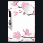 "Cherry Blossom - Transparent Background Dry Erase Board With Mirror<br><div class=""desc"">I have a passion for nature and especially love anything with flowers. For this piece I wanted to create a simple,  yet elegant flower infused with a slight feeling of the orient.</div>"
