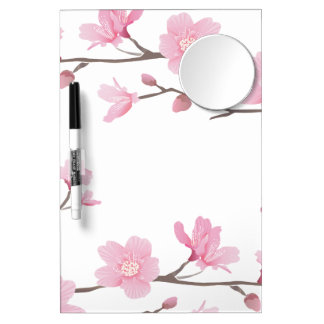 Cherry Blossom - Transparent Background Dry Erase Board With Mirror