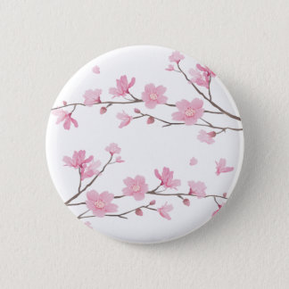 Cherry Blossom - Transparent-Background Pinback Button
