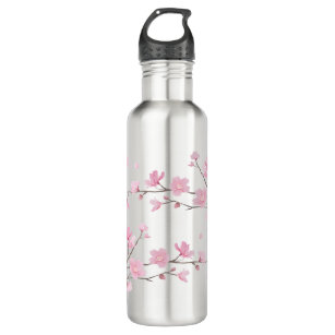 Cherry Blossom - Transparent Background Stainless Steel Water Bottle