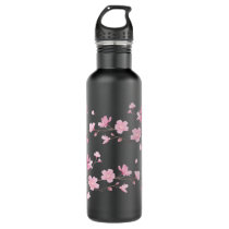 Cherry Blossom - Transparent Background Water Bottle