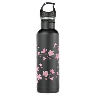 Cherry Blossom - Transparent Background Water Bottle