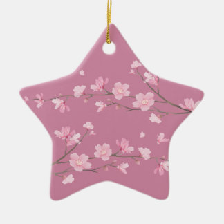 Cherry Blossom - Transparent - HAPPY BIRTHDAY Ceramic Ornament