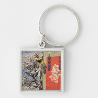 Cherry blossom tree and silk tapestry of Silver-Colored square keychain