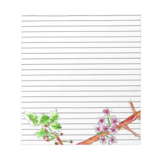 Cherry Blossom Tree Branch Botanical Lined Notepad