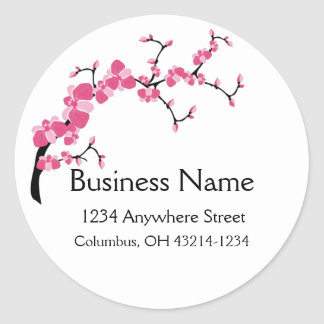 Cherry Blossom Tree Branch Round Address Labels