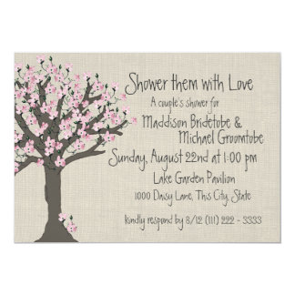 Cherry Blossom Tree Couples Shower 5x7 Paper Invitation Card