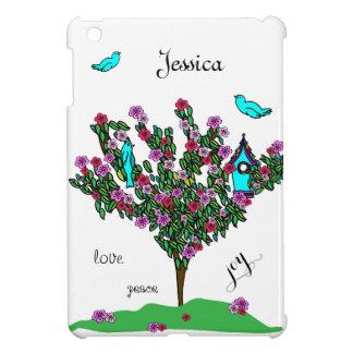 Cherry Blossom Tree Cute Birds Love Joy Monogram iPad Mini Cover