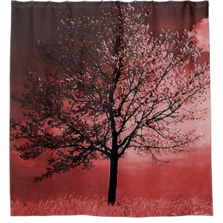 Cherry Blossom Tree In Shades Of Pink Shower Curtain