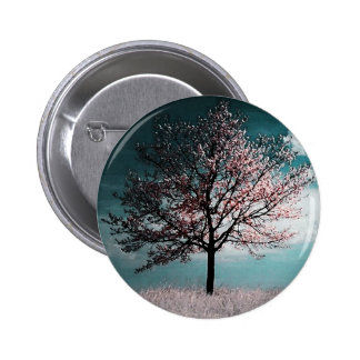 Cherry Blossom Tree Painting - Dusk Pinback Buttons