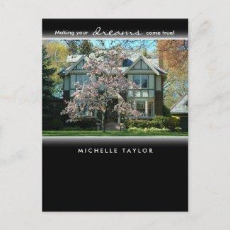 Cherry Blossom Tree Real Estate House Postcard postcard