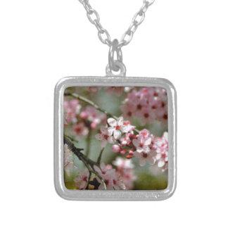 Cherry Blossom Tree Square Pendant Necklace