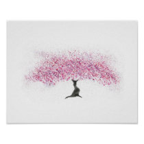 Cherry Blossom Tree Watercolor Poster