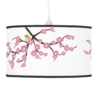 cherry blossom tree with mockingbirds hanging lamp