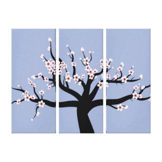 Cherry Blossom Vector Art Triptych Canvas Print