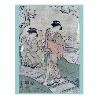 Cherry blossom viewing by Torii, Kiyonaga Ukiyo-e Postcard
