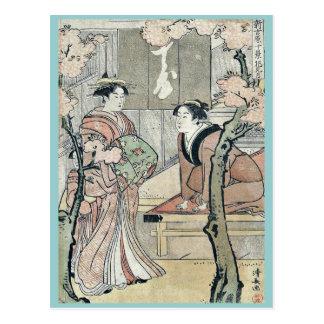 Cherry blossom viewing month by Torii, Kiyonaga Uk Postcard