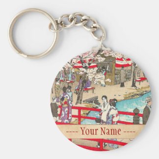 Cherry Blossom Viewing shiro kasamatsu bridge art Key Chains