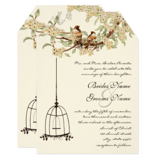 Cherry Blossom Vintage Birds & Birdcage Weddings Card