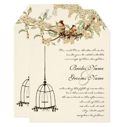 Cherry Blossom Vintage Birds & Birdcage Weddings Card