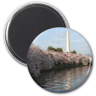 Cherry Blossom Washington monument 2 Inch Round Magnet
