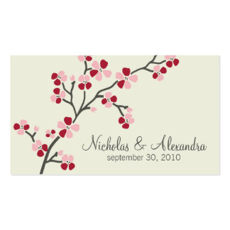 Cherry Blossom Wedding Business Card (red)