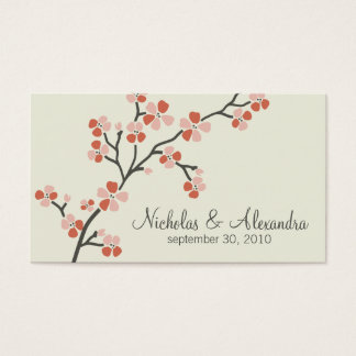 Cherry Blossom Wedding Business Card (salmon)