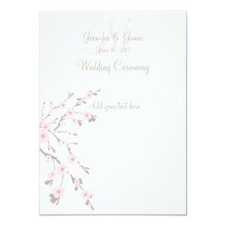 Cherry Blossom Wedding Church Programs 4.5x6.25 Paper Invitation Card