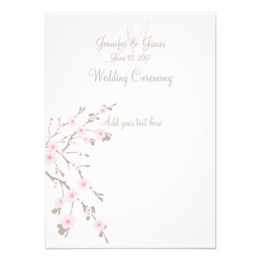 Cherry Blossom Wedding Church Programs 45x625 Paper