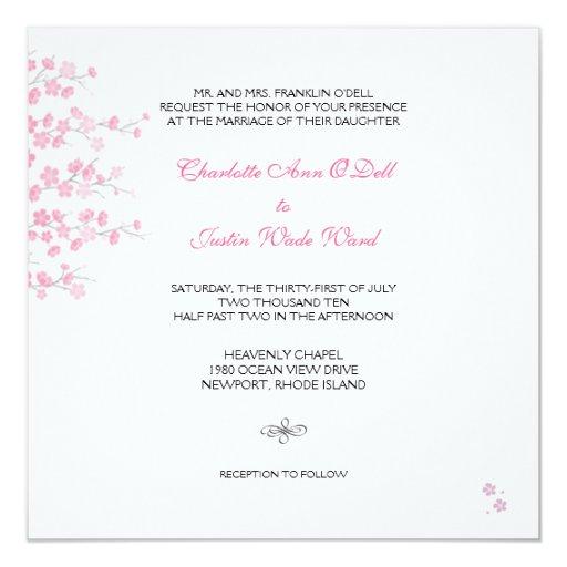 cherry blossom; wedding custom announcement