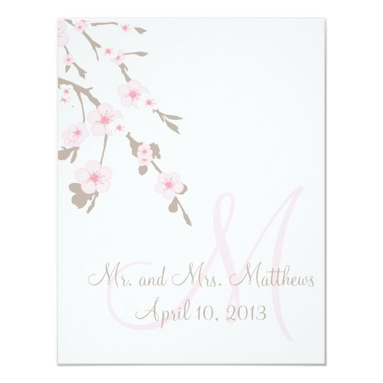 Cherry Blossom Wedding Dinner Menu Cards Back