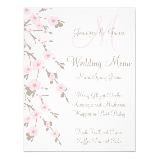 Cherry Blossom Wedding Dinner Menu Cards Back 425 X 55 Invitation Card