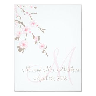 Cherry Blossom Wedding Dinner Menu Cards Back Invitations