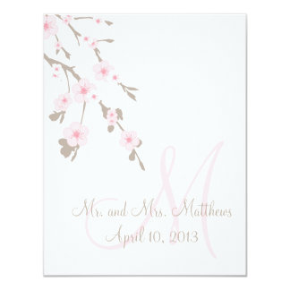 "Cherry Blossom Wedding Dinner Menu Cards Front 4.25"" X 5.5"" Invitation Card"