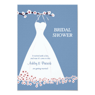 Cherry Blossom  & Wedding Dress on Polka Backgroun Card