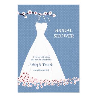 Cherry Blossom Wedding Dress on Polka Backgroun Custom Invite