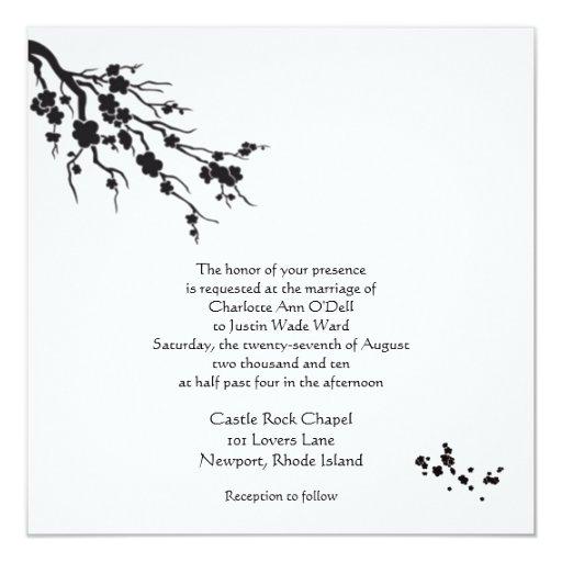 cherry blossom; wedding 5.25x5.25 square paper invitation card