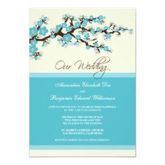 "Cherry Blossom Wedding Invitation (aqua) 5"" X 7"" Invitation Card"