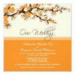 """Cherry Blossom Wedding Invitation (orange) 5.25"""" Square Invitation Card"""