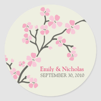 Cherry Blossom Wedding Invitation Seal 2 (pink) Sticker