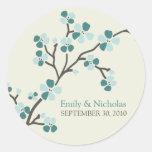Cherry Blossom Wedding Invitation Seal 2 (teal) Round Sticker