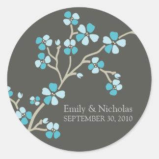 Cherry Blossom Wedding Invitation Seal (aqua) Round Sticker