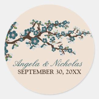 Cherry Blossom Wedding Invitation Seal (blue) Stickers