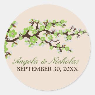 Cherry Blossom Wedding Invitation Seal (lime) Classic Round Sticker