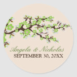 Cherry Blossom Wedding Invitation Seal (lime) Classic Round Sticker
