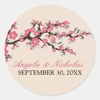 Cherry Blossom Wedding Invitation Seal (pink) Classic Round Sticker